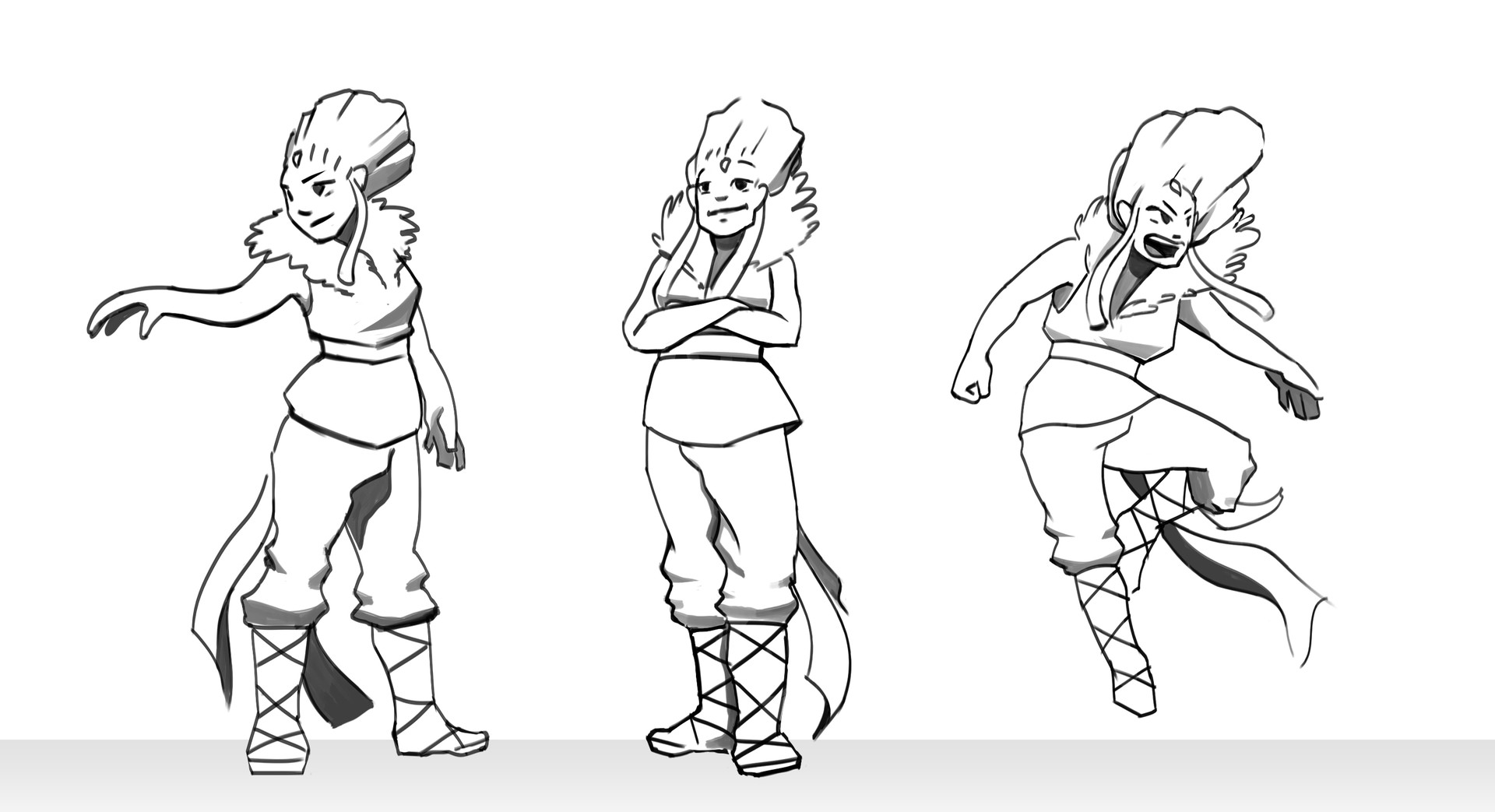 Retake of the main character that I have designed for the game Afterward, in a cartoon style. Working on the attitudes/poses.