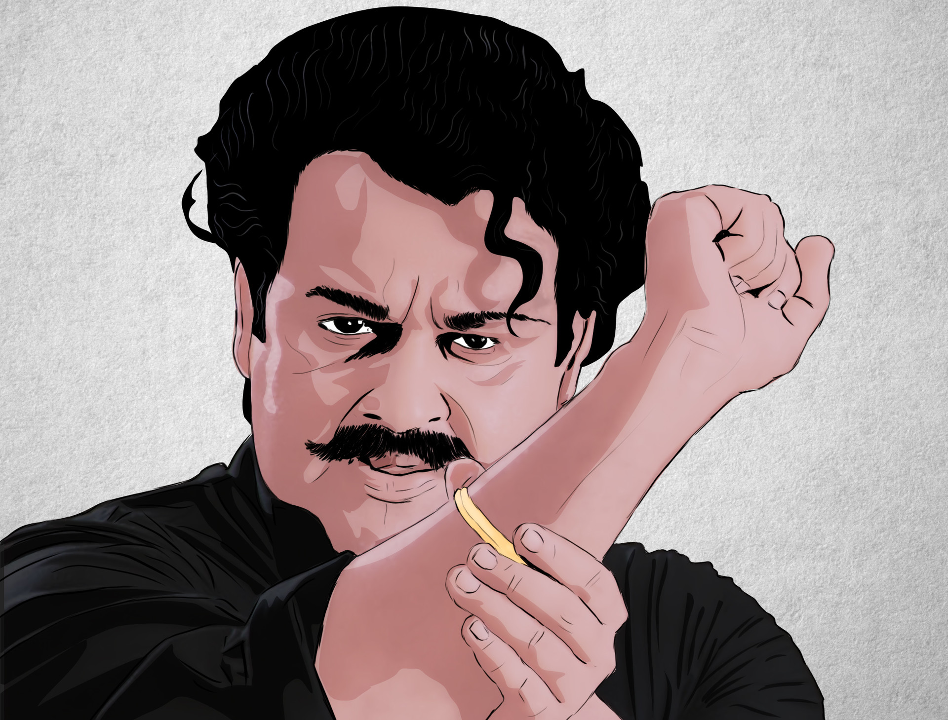 Artstation Commissioned Illustrations For Mohanlal Malayalam Movie