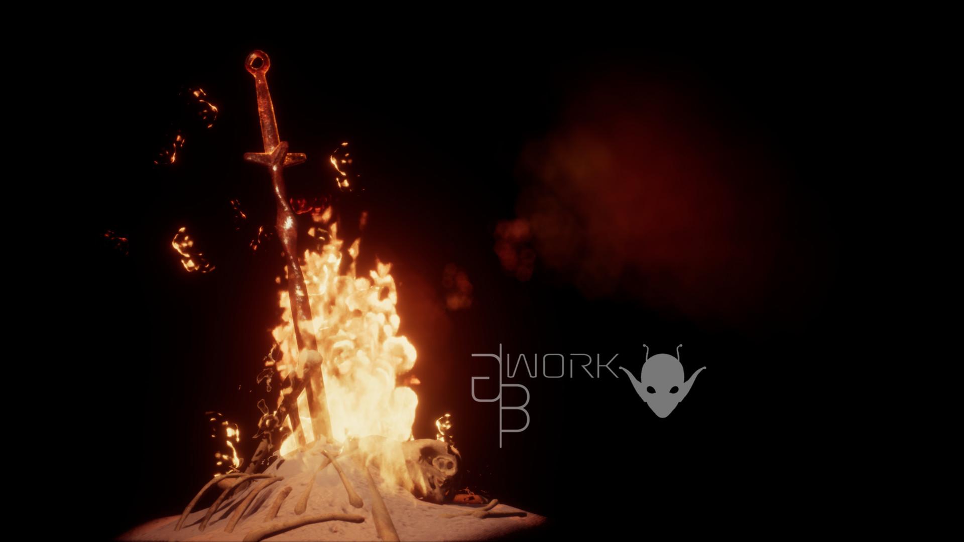 Artstation Bonfire Dark Souls Fanart Guillaume Boivin