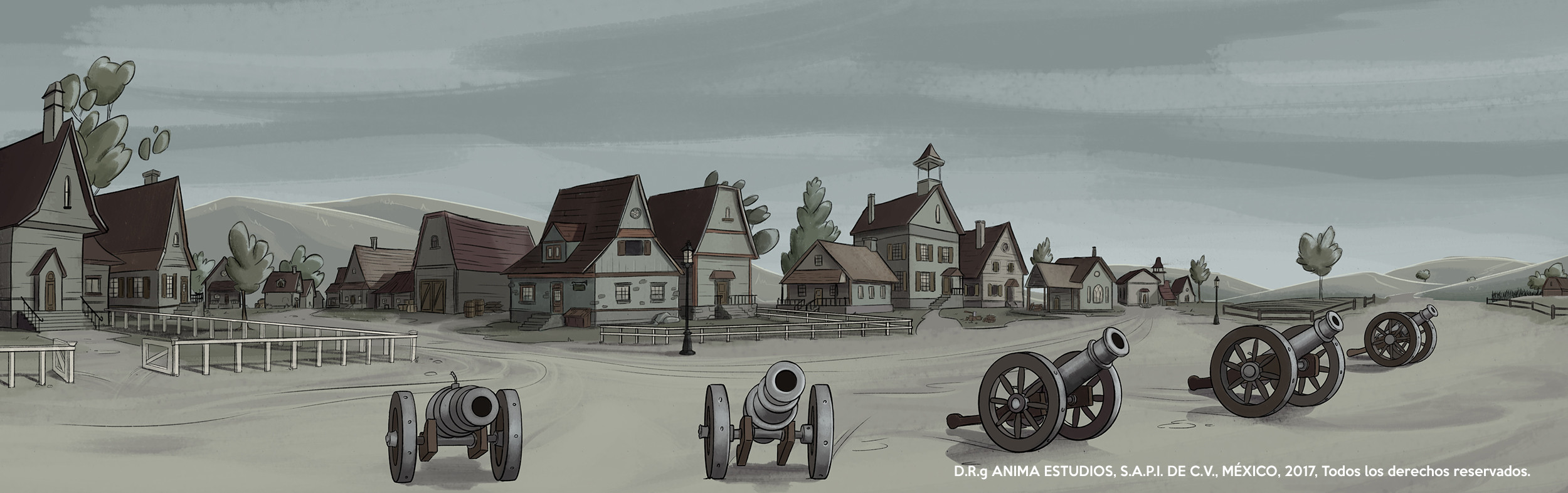 The town outskirts, with day palette.