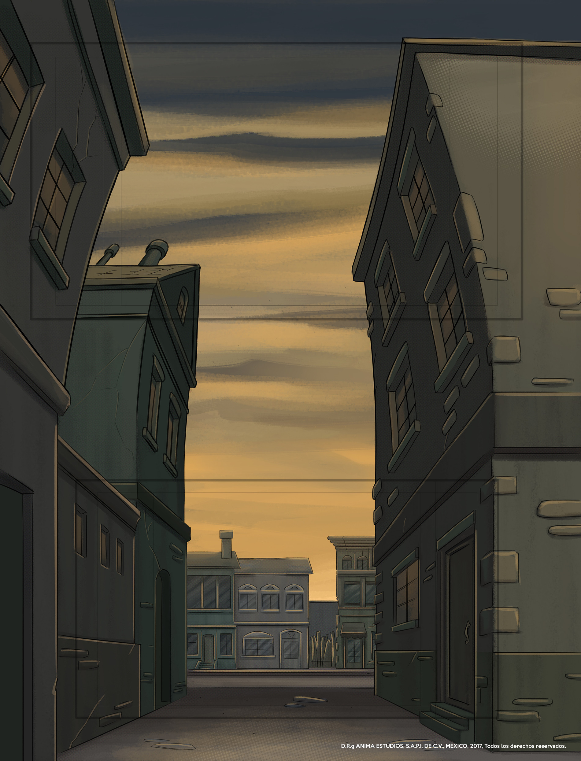 One of the last shots of the episode where the camera looks upwards from the street to see the passing airship.