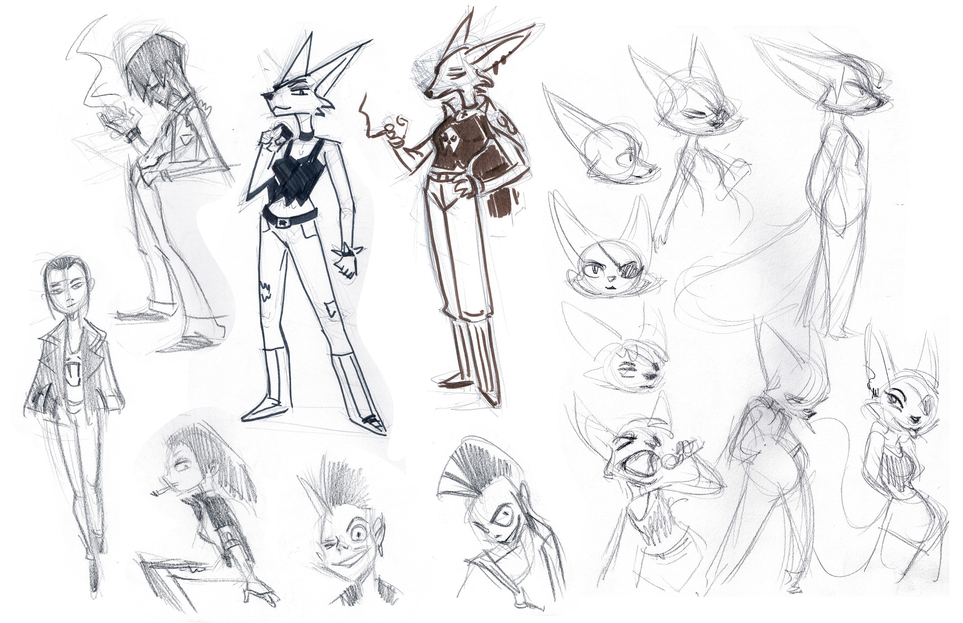 Various of sketches until I settled with the look I wanted.