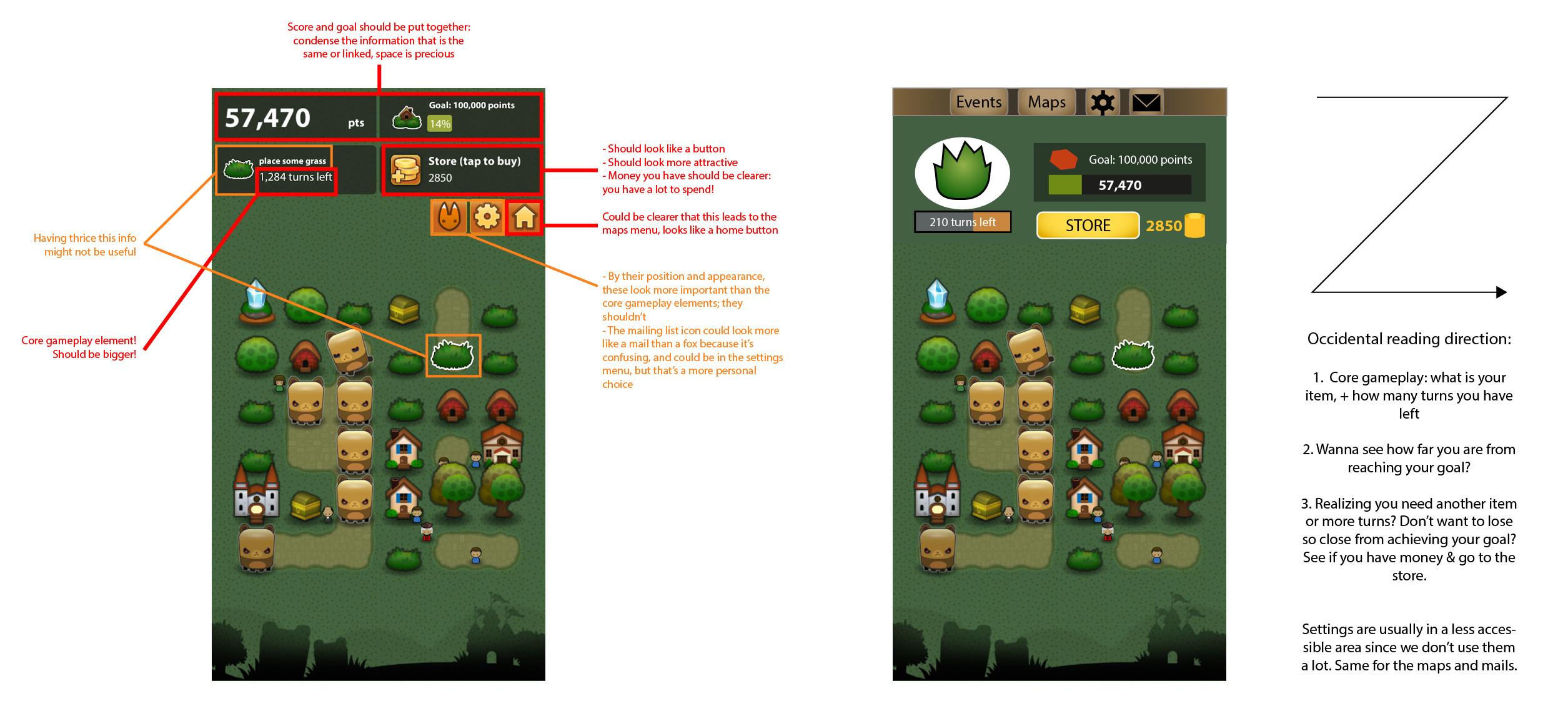 Problems that I have found with the interface of Triple Town mobile, and a simple mock-up to suggest an improved version, easier to read and use.