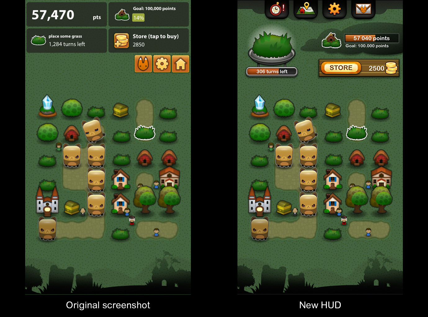 On the left, a screenshot from the mobile game Triple Town.