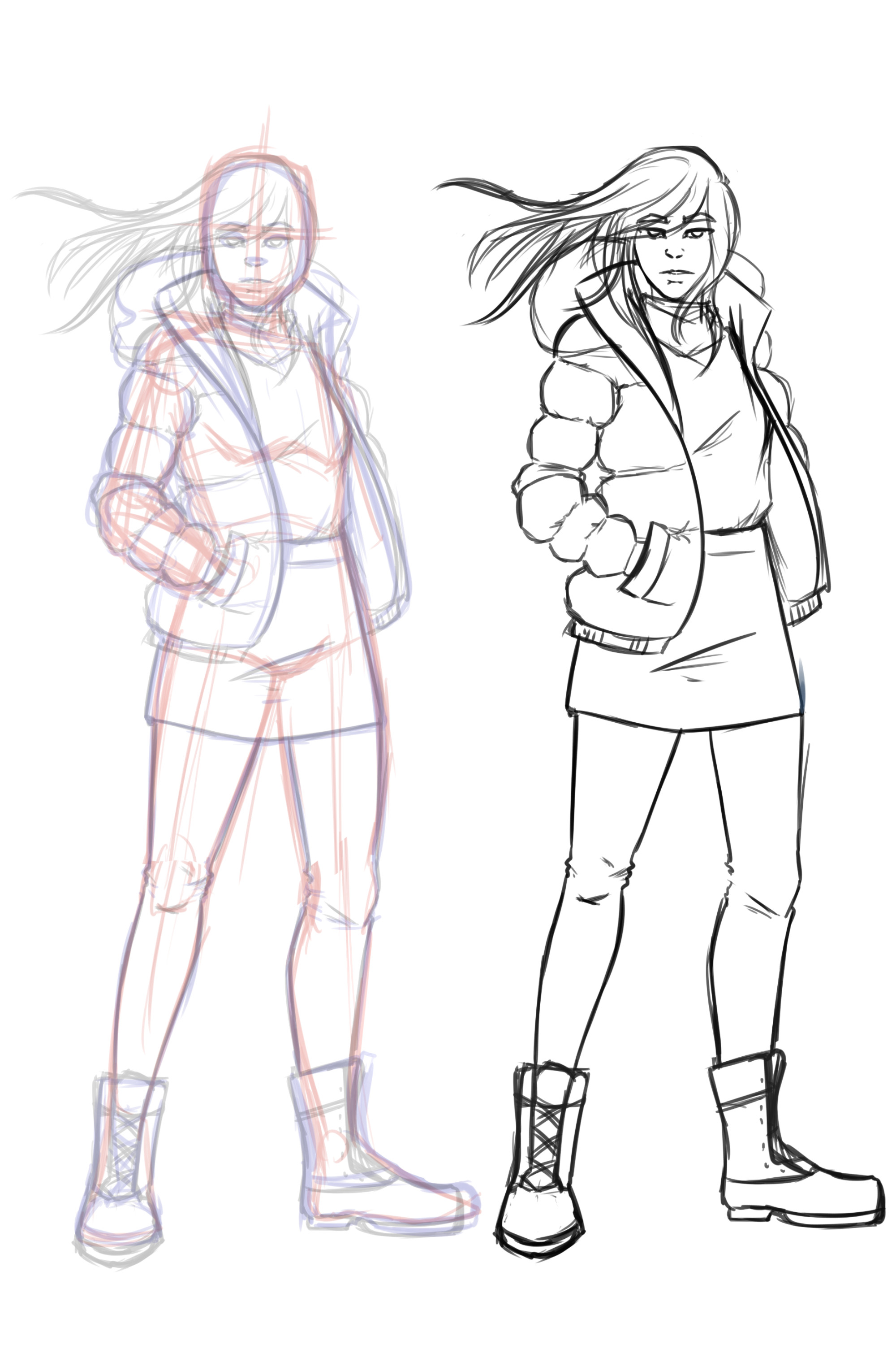 Initial sketch and final sketch