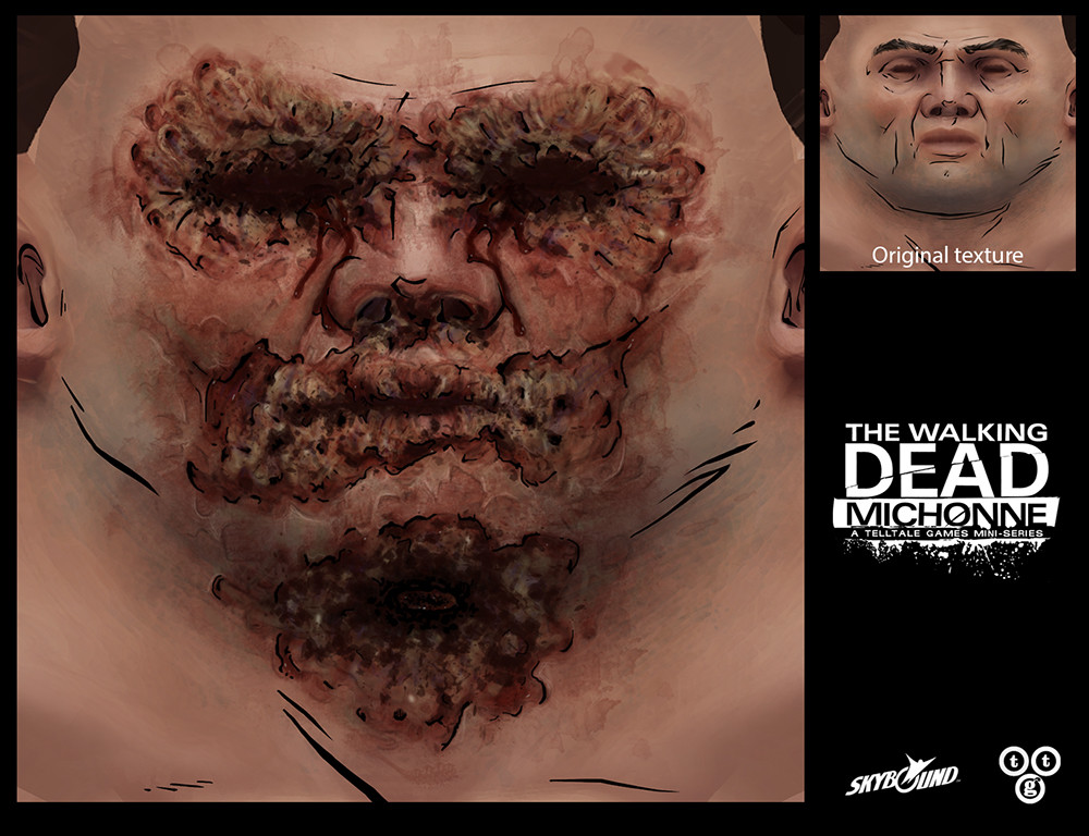 Flare burn damage state I texture painted for The Walking Dead: Michonne