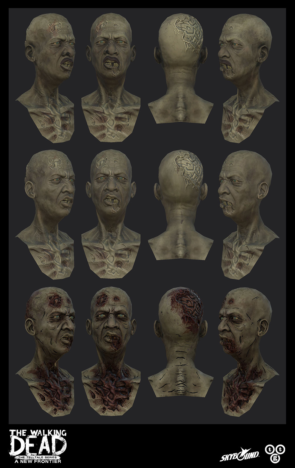 Zombie head I textured for The Walking Dead: A New Frontier. Top: baked over diffuse from an existing head. Middle: cleaned up diffuse to make a generic base: Bottom: full textures.