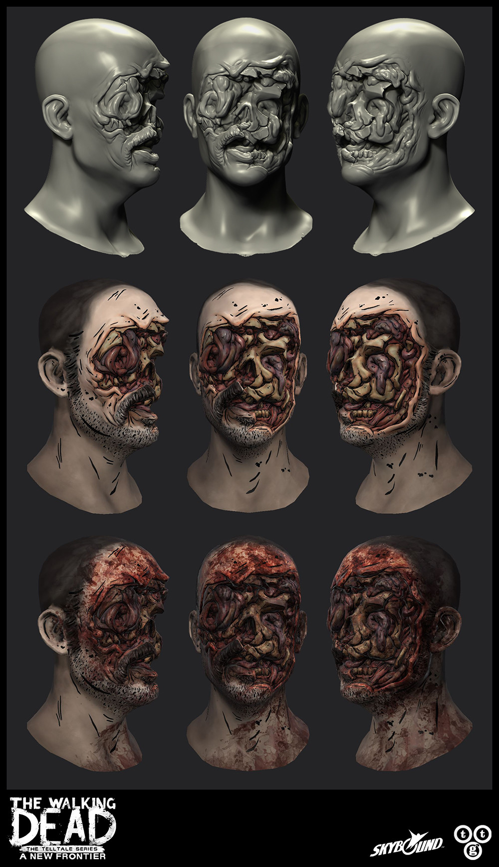 An up-resed version of Carver from season 2 for The Walking Dead: A New Frontier. For the damaged area, I did the sculpting, low-poly, bakes, and textures.