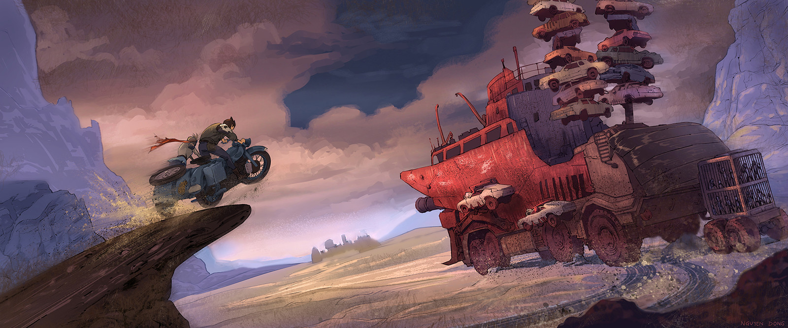 Hans and his sister chase the Wasteland Witch's big rig key frame.