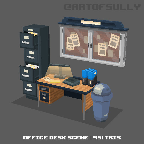 3D Pixel-Art Office Desk Scene (Commission)