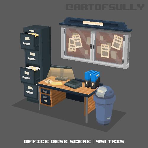 3D Pixel-Art Office Desk Scene (Commission)