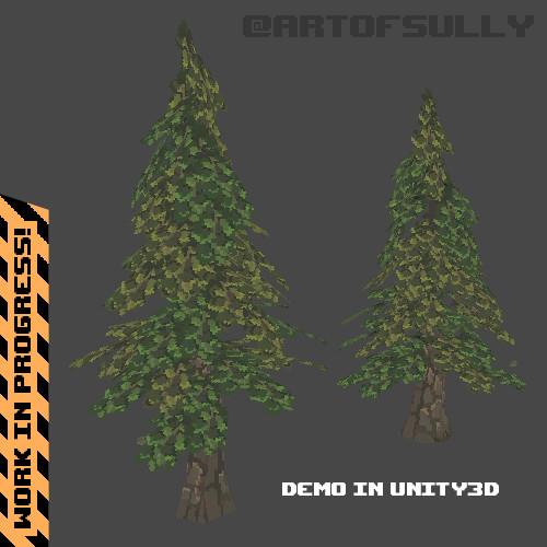3D Pixel-Art Trees (WIP Test Scene)