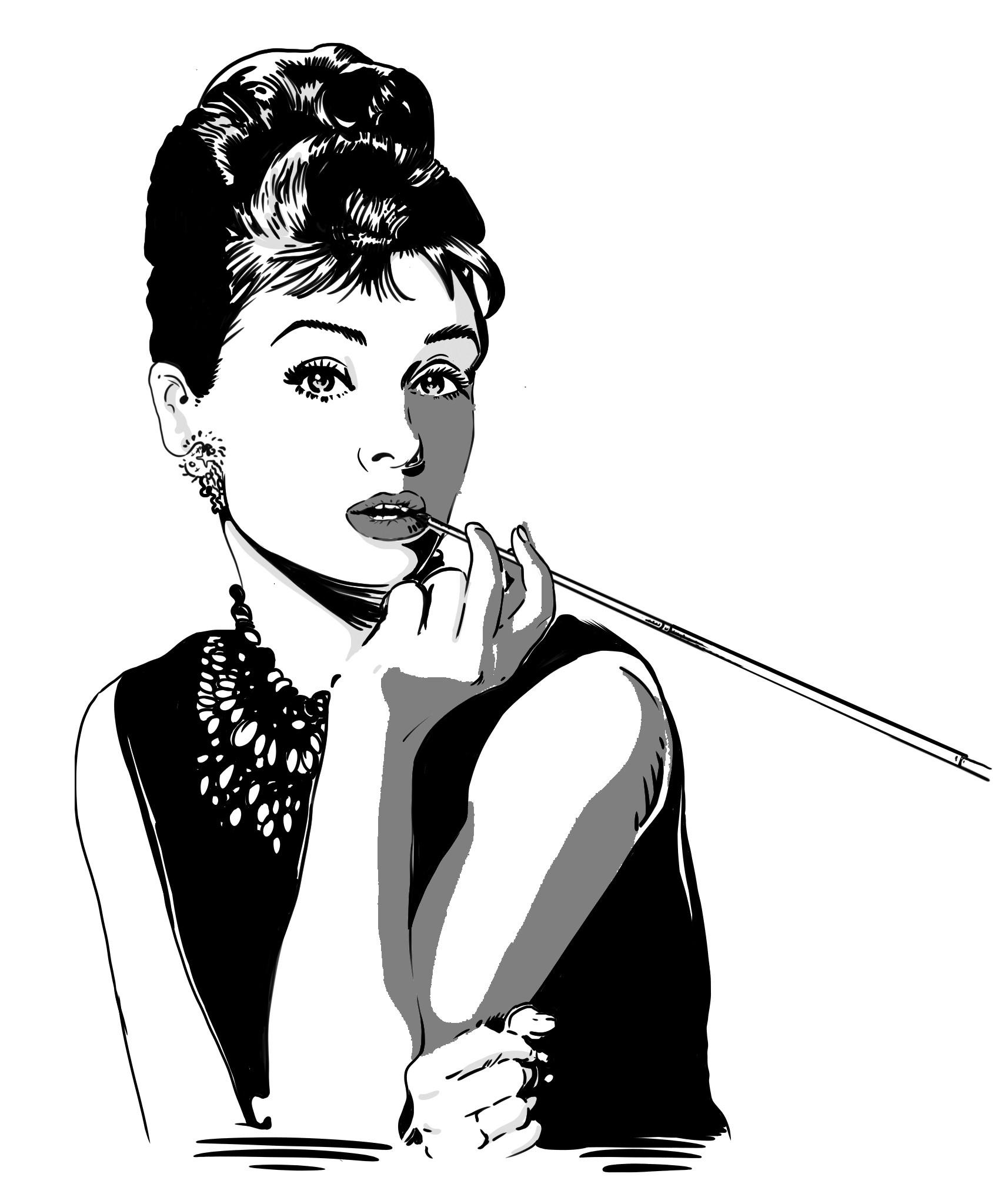 черно белый рисунок одри хепберн