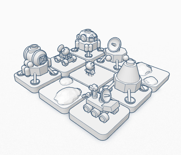 Moon/Mars landing game pieces, including rovers, probes, and astronauts.