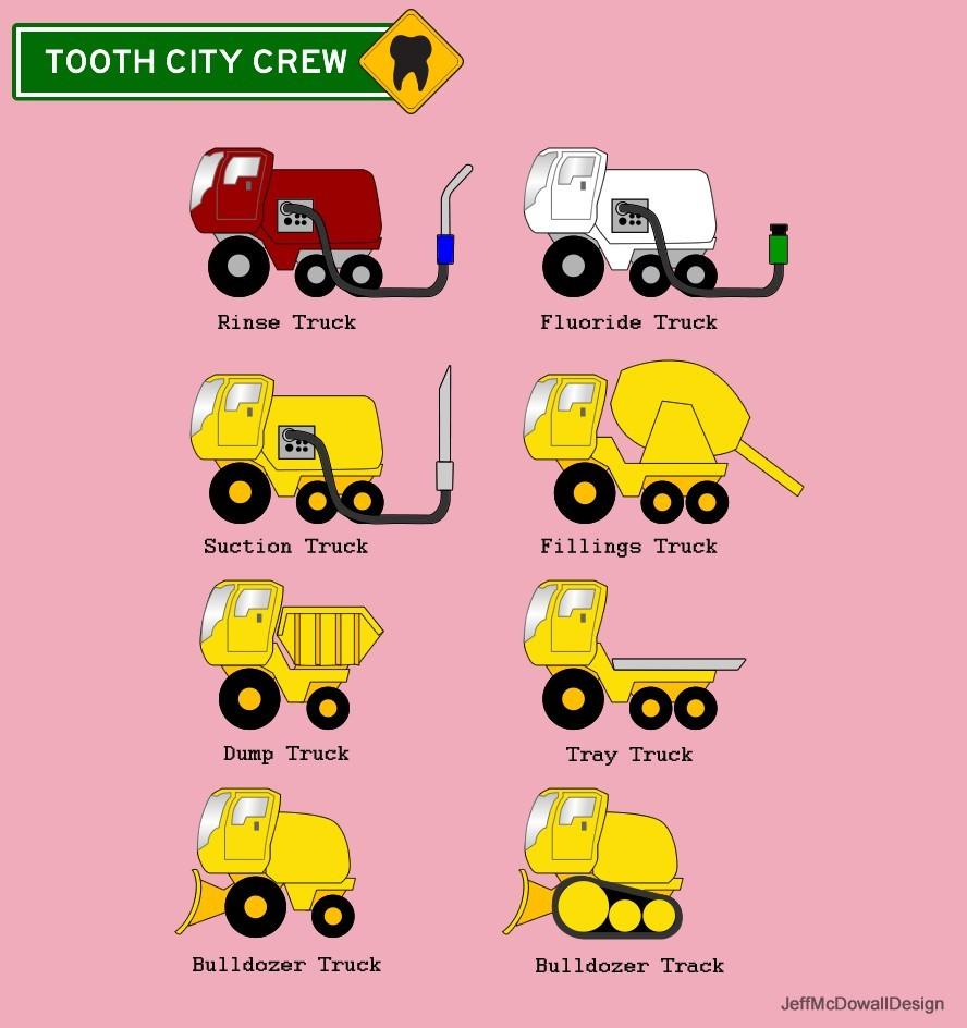 Vehicle designs for dental comic.