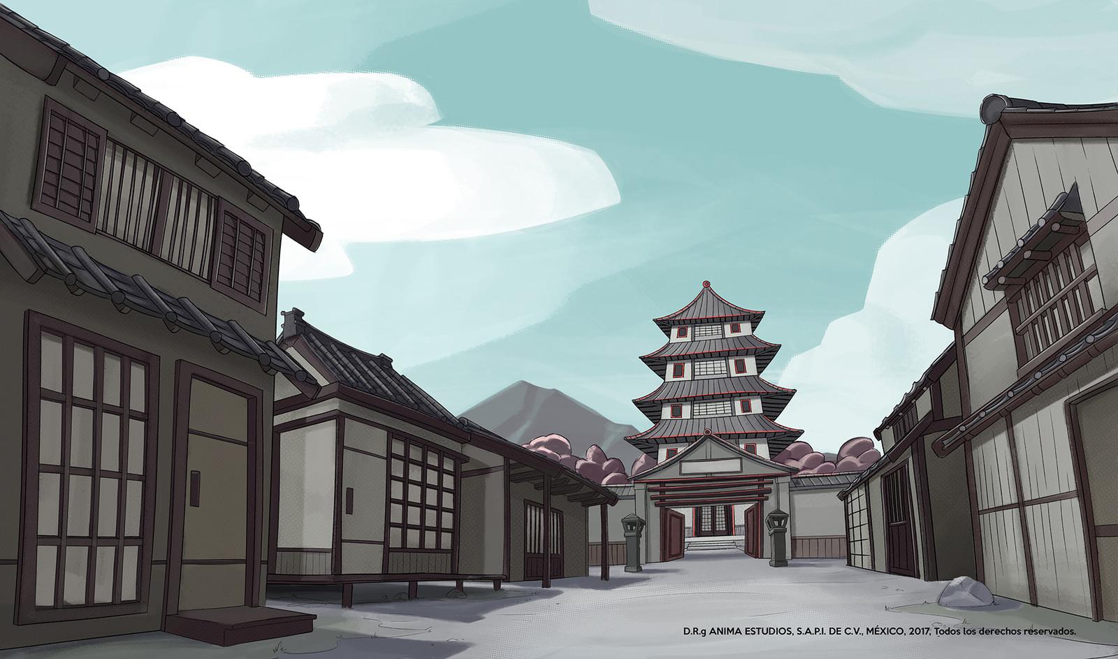 The Japanese village main street.