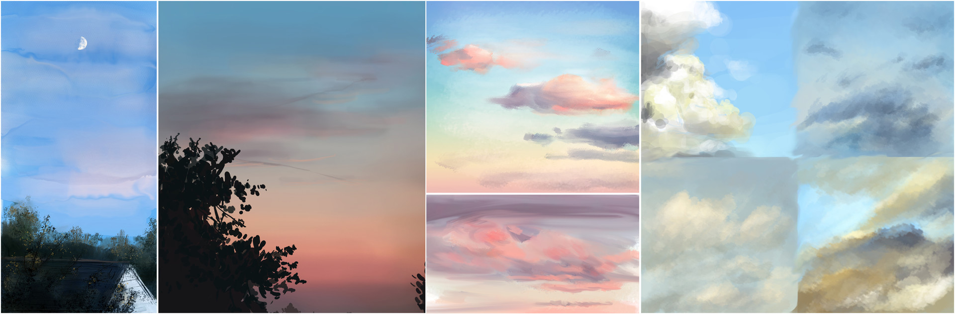 Studies from real life, looking at the sky through my window.