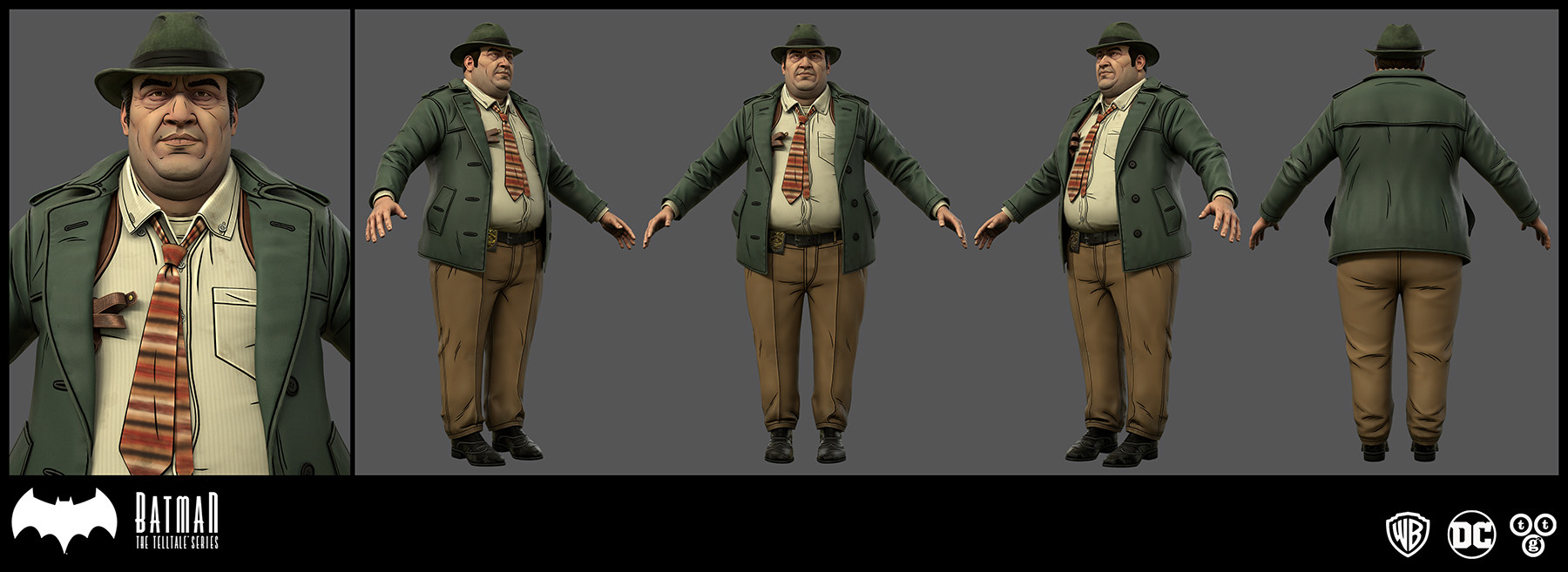 I did the textures for Bullock's clothes and hair for Batman The Telltale Series: The Enemy Within. I was given the detail line maps plus the diffuse for the head and hands and only made slight changes to those.