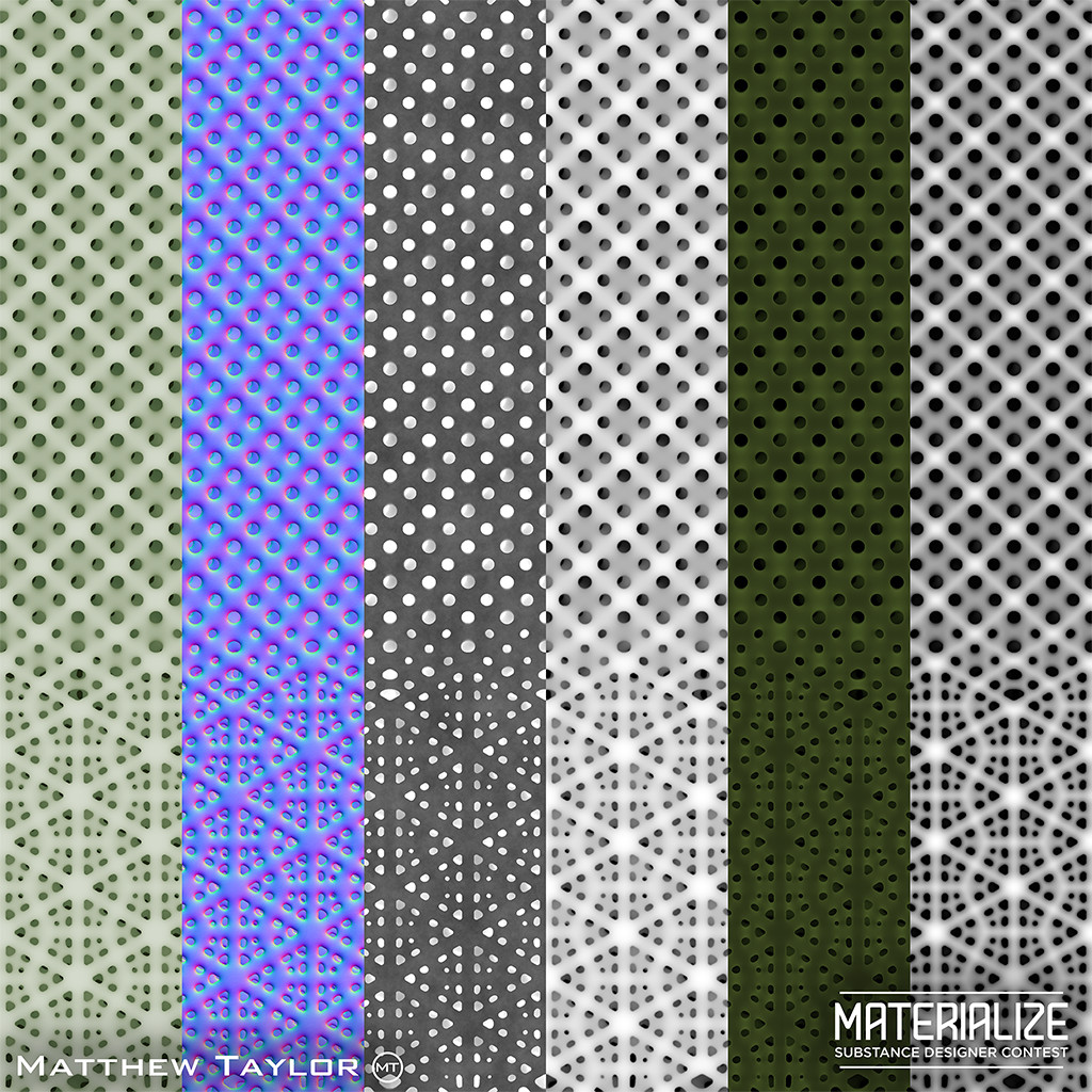 Texture breakdown (base color, normal, roughness, height, emissive, AO).