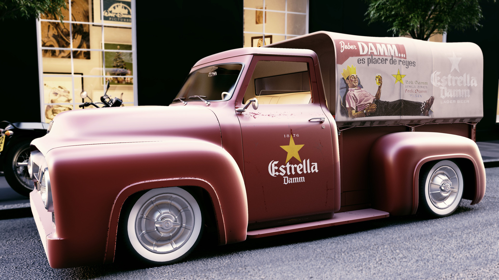 ArtStation - truck ford f-1 1955 coca-cola, 3D Max,Vray and