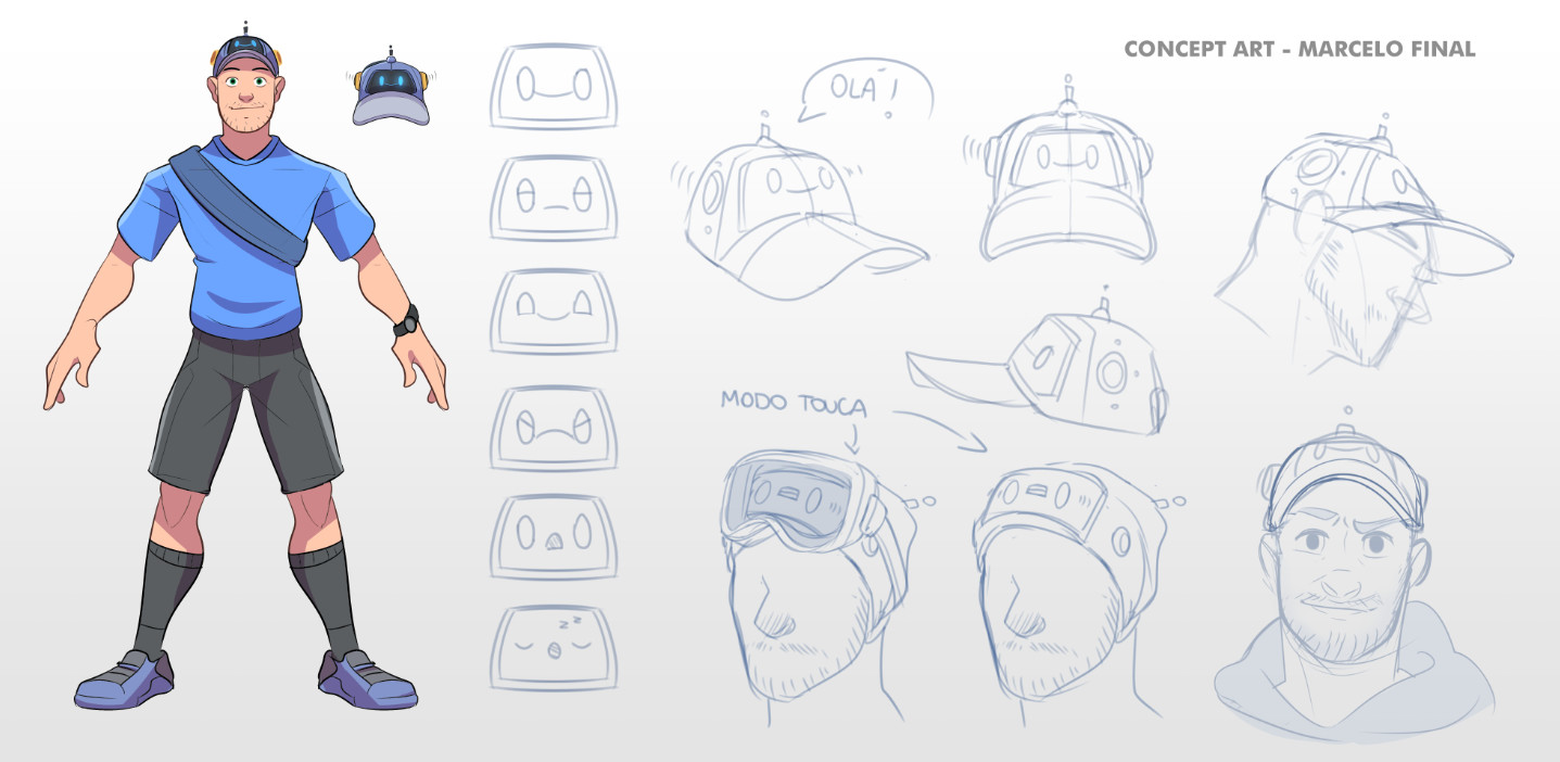 The final concept for the main character. In the end, it was decided that the team would just stick to a more life-like character which resembled Marcelo himself. Early 2017