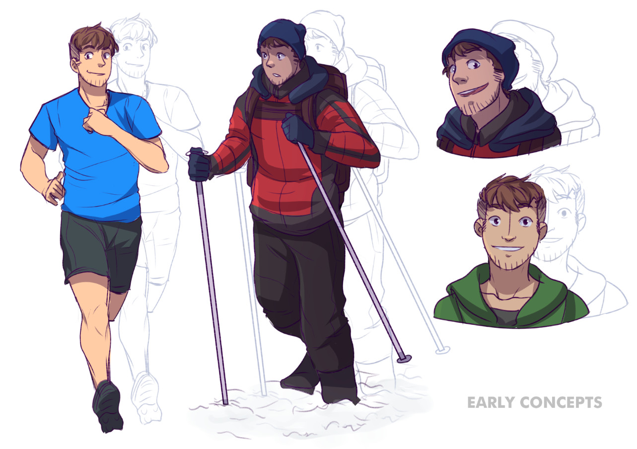 Early concepts for the main character. At this time, the team was unsure wether to use the likeness of the marathonist in real life or if an entire new character should be created. Early 2016
