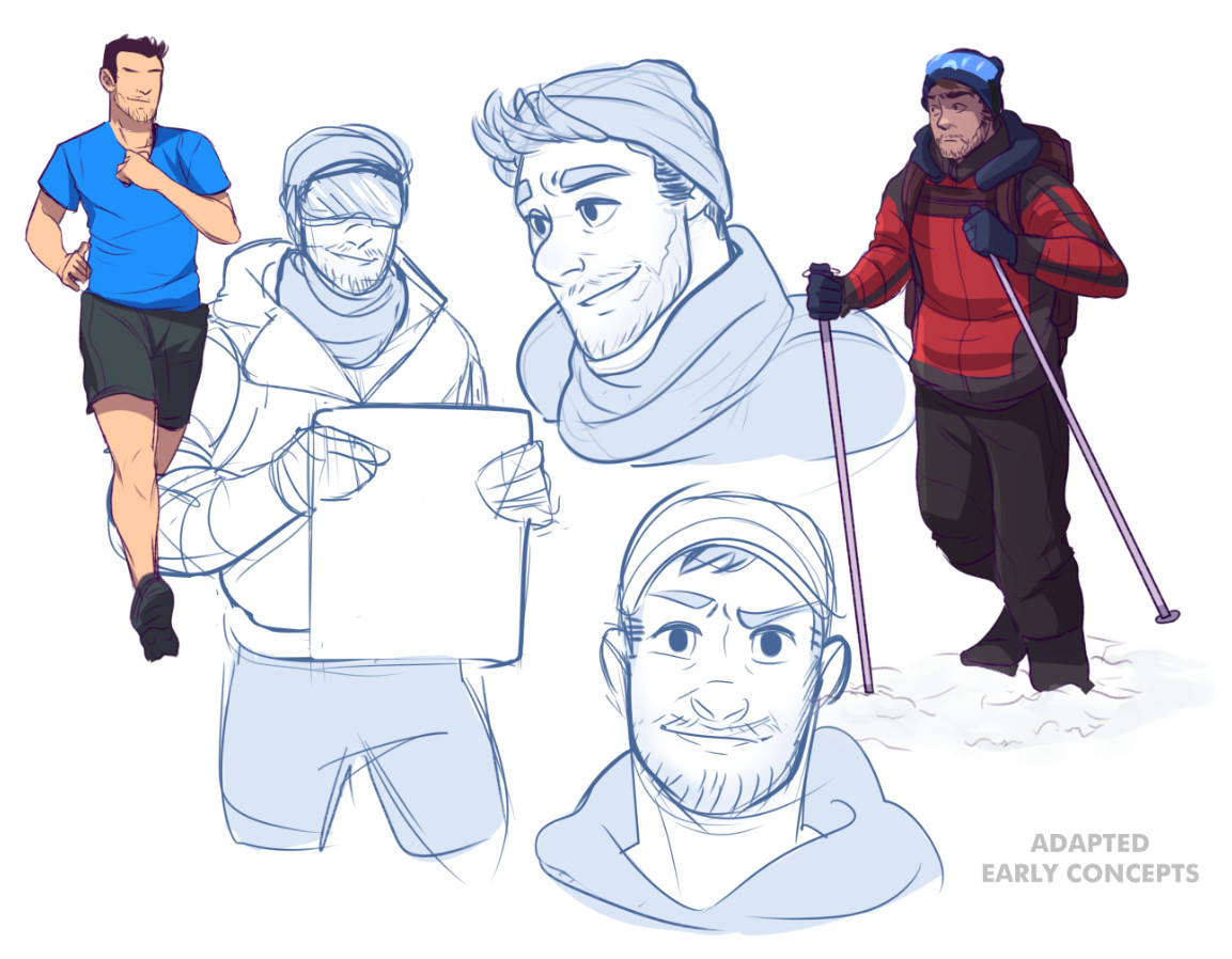Adapted early concepts for the main character. The team decided to go for an older-looking character. Early 2016