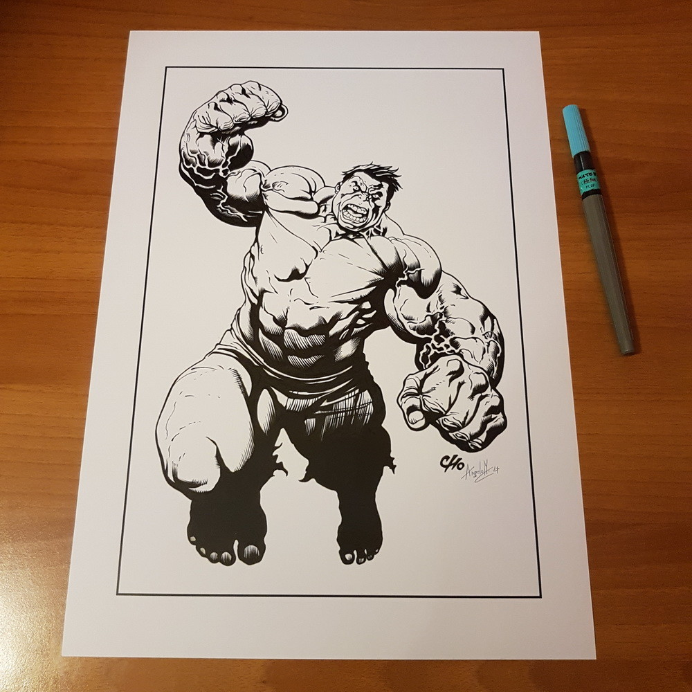 Hulk by Frank Cho inked on A3 with Fude FL2F and Kuretake ink