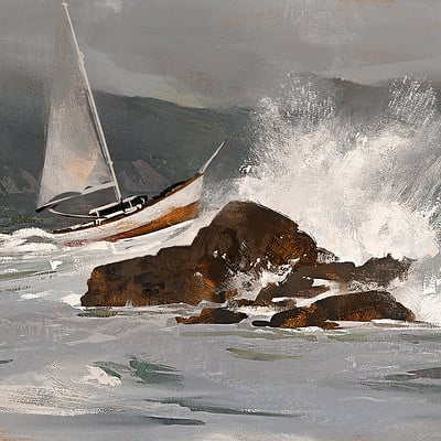 Greg rutkowski boat and waves study 1500