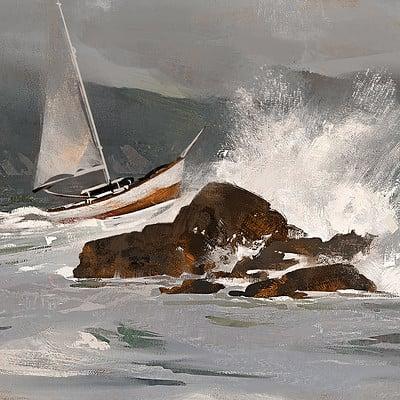 Greg rutkowski boat and waves study 1500
