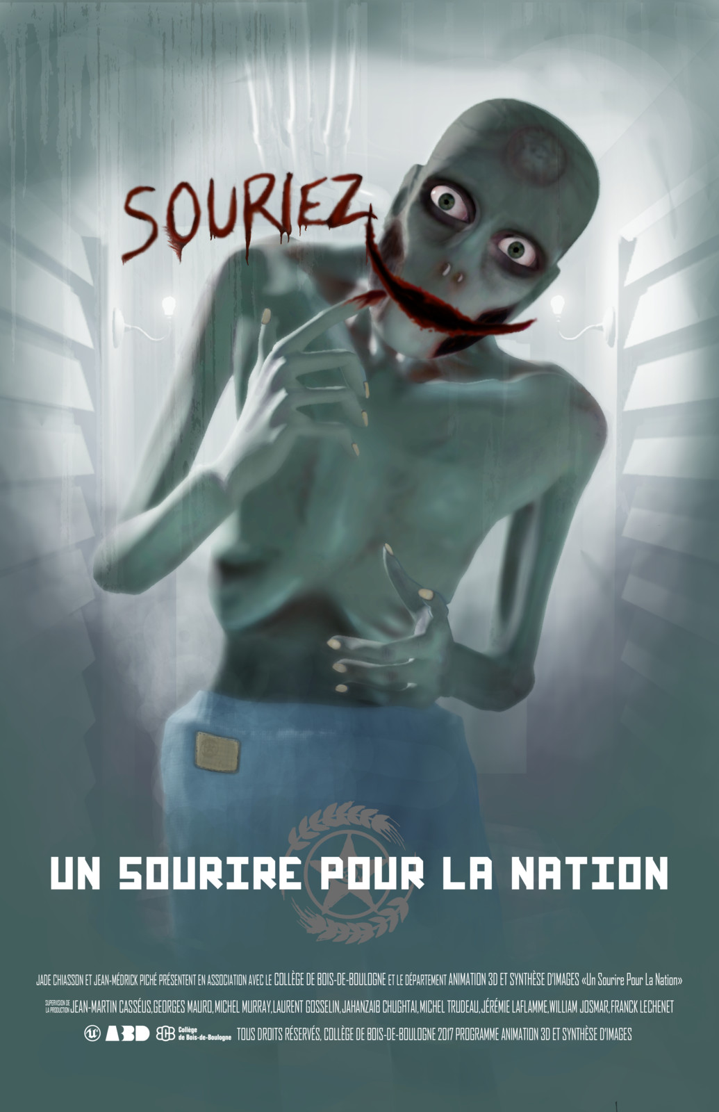 """Poster for the short film called """"Un sourire pour la Nation"""". Based on the movie poster for The Dark Knight."""