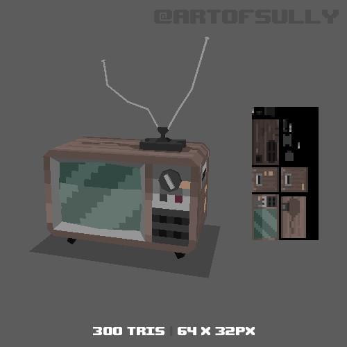 3D Pixel-Art Prison TV (Commission)