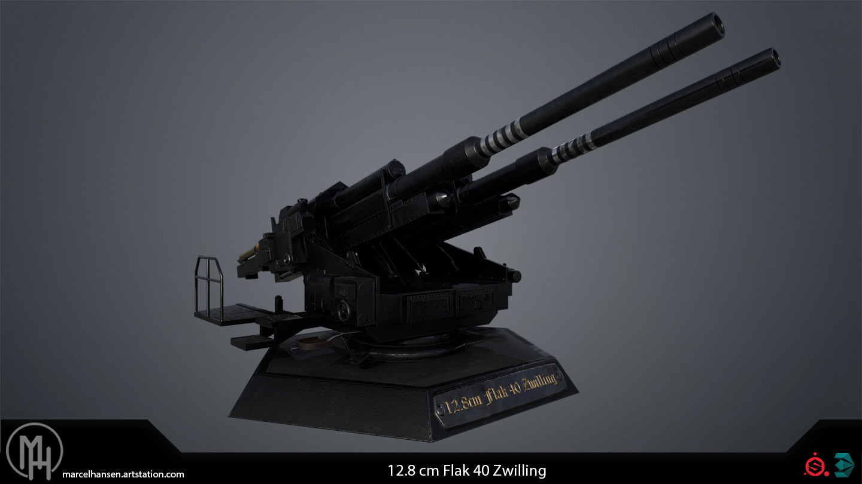 ArtStation - German 12.8 cm Fl...