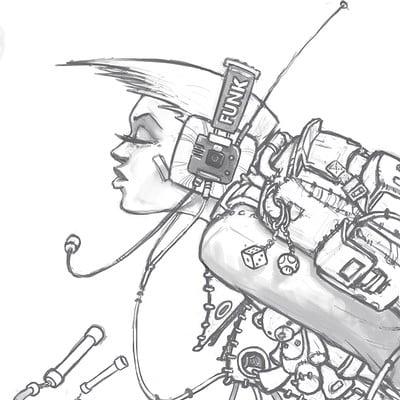 Thomas van der heiden sketch chick with headphones 2009