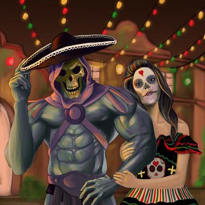 Poveda digital art skeletor goes to mexico