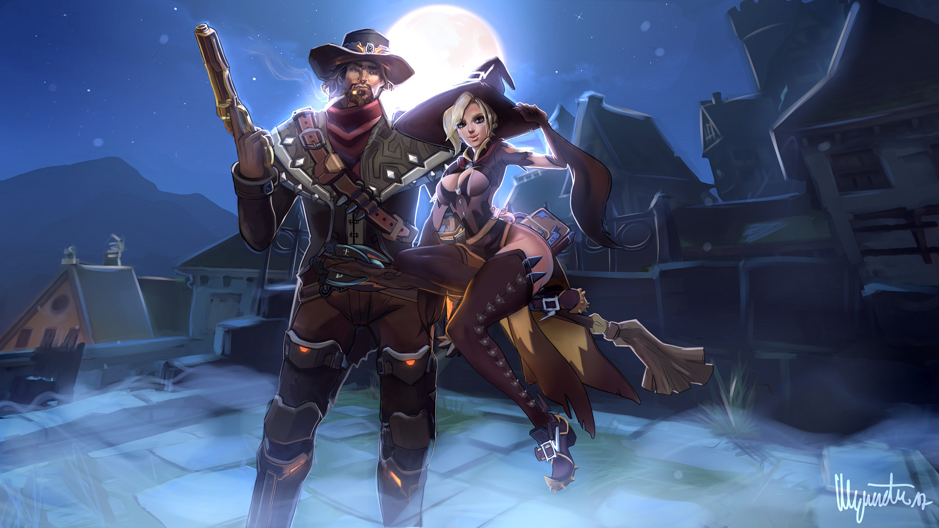 nathalie gottscheu - mc cree and mercy halloween skins - overwatch