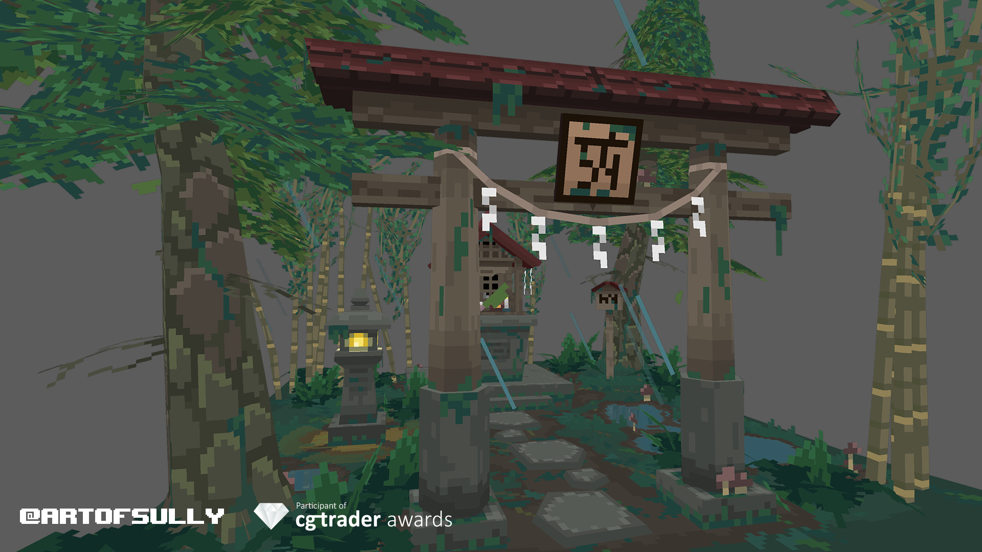 Brendan sullivan 3d pixel art japanese shrine cover photo