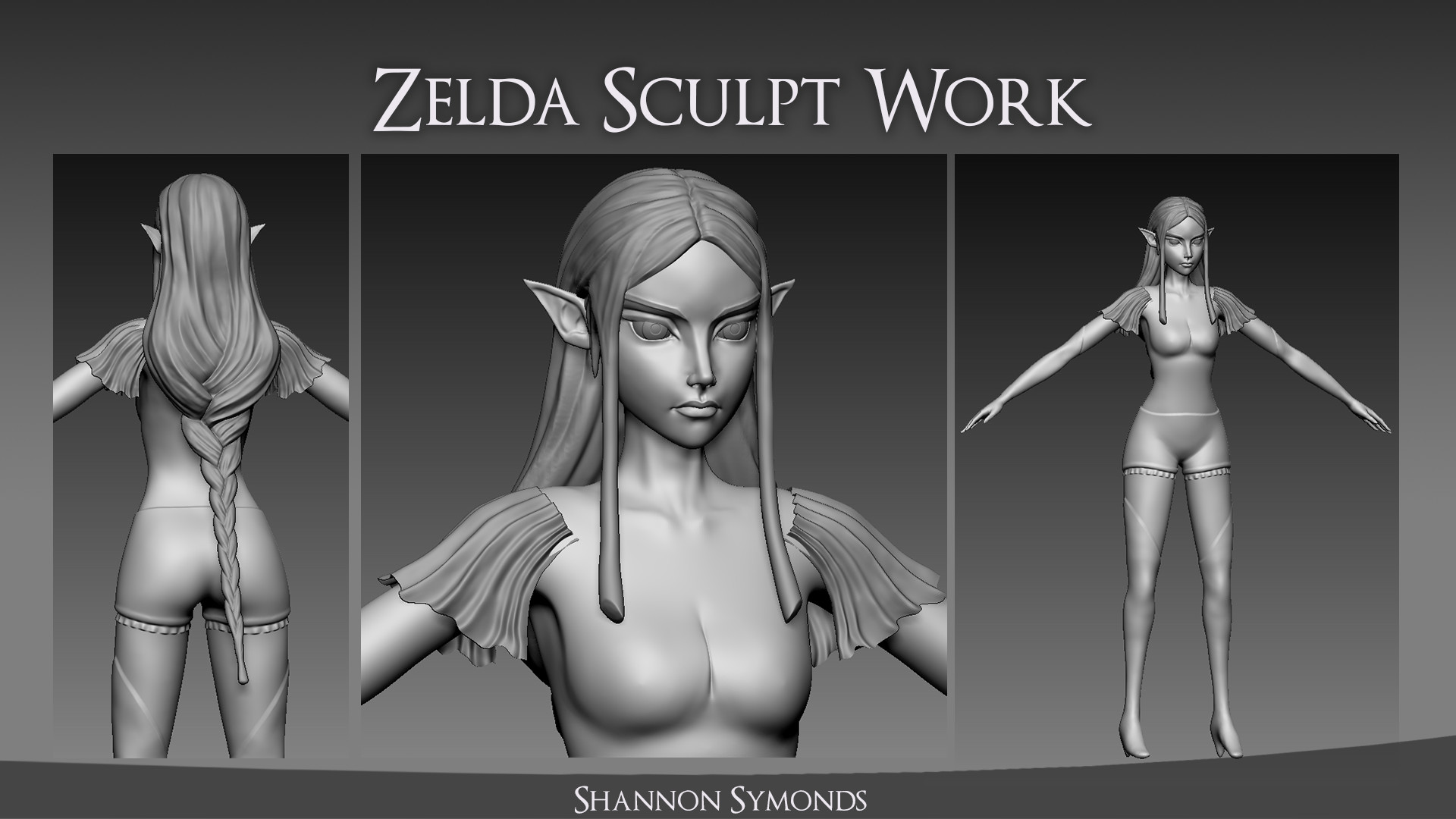 Sculpt work created in ZBrush. The body (including shorts, gloves and leggings), hair, eyes and shoulder frills were sculpted for use as a base, in the normal and to generate a AO map that could be used as part of the diffuse texture creation.