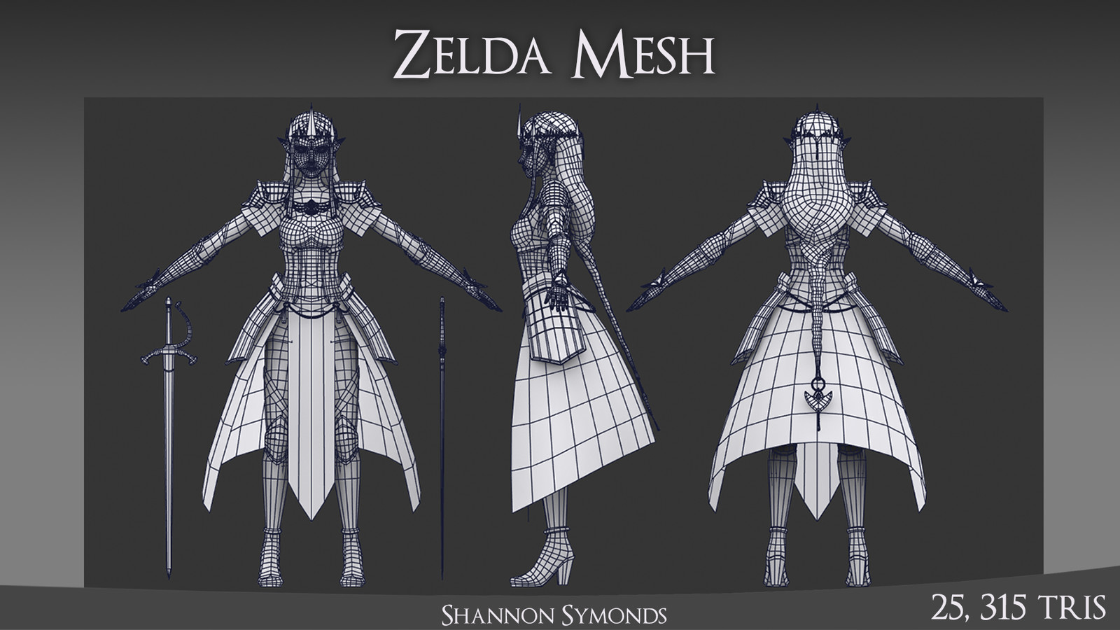 All hard-surface models were made in 3Ds Max such as the breastplate, arm guards and boots. The same goes for the fabric.