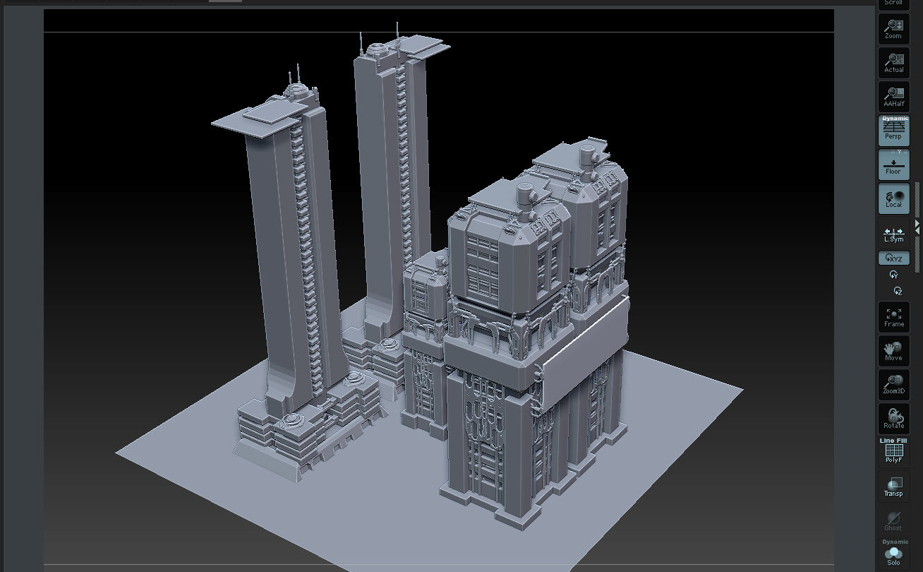 First stage composition for test while building assets in Zbrush.