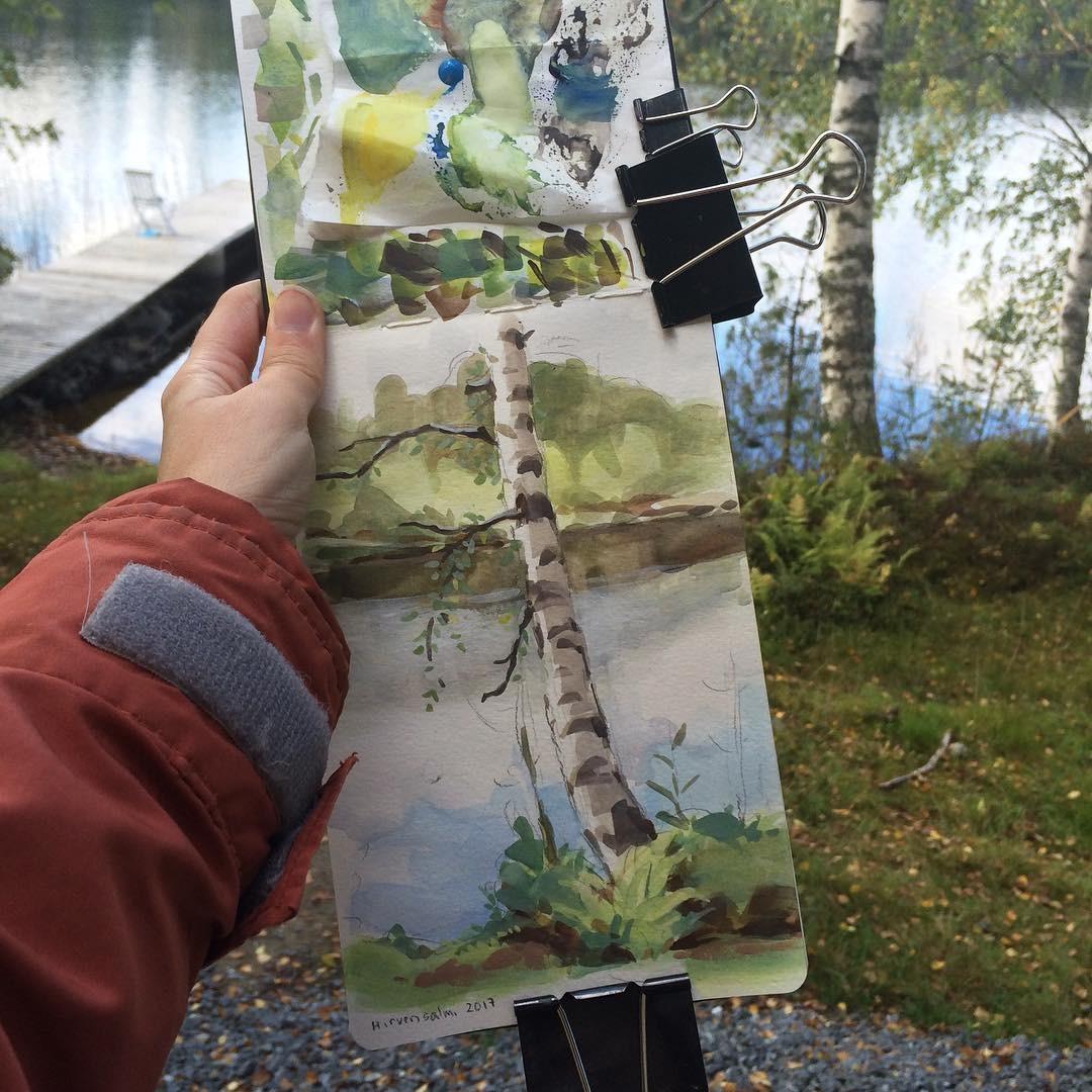 Birch tree plein air, gouache