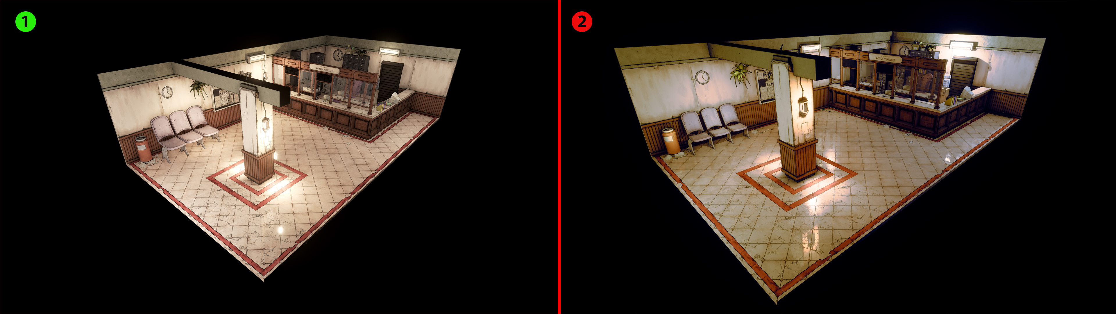 Here is the comparison. Side note: some people mentioned the chairs were scaled high, I agreed, then reduced them.