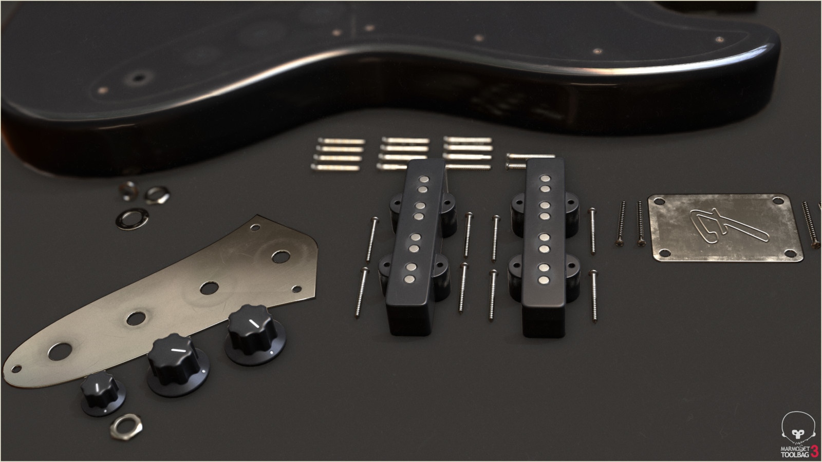 Pickups & Tuning Knobs Disassembled (Low Poly)