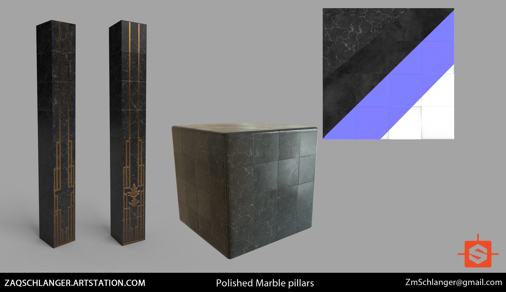 Fully procedural marble material made in Substance Designer