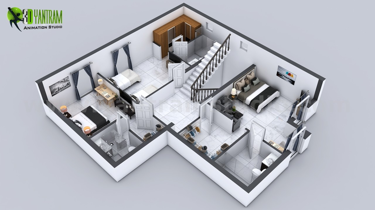 Artstation 3d Floor Plan Of 3 Story House With Cut Section View By Yantram Home Plan Designer New Jersey Usa Yantram Architectural Design Studio