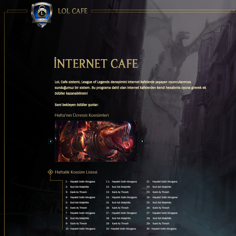 LoL Cafe - Promo Website