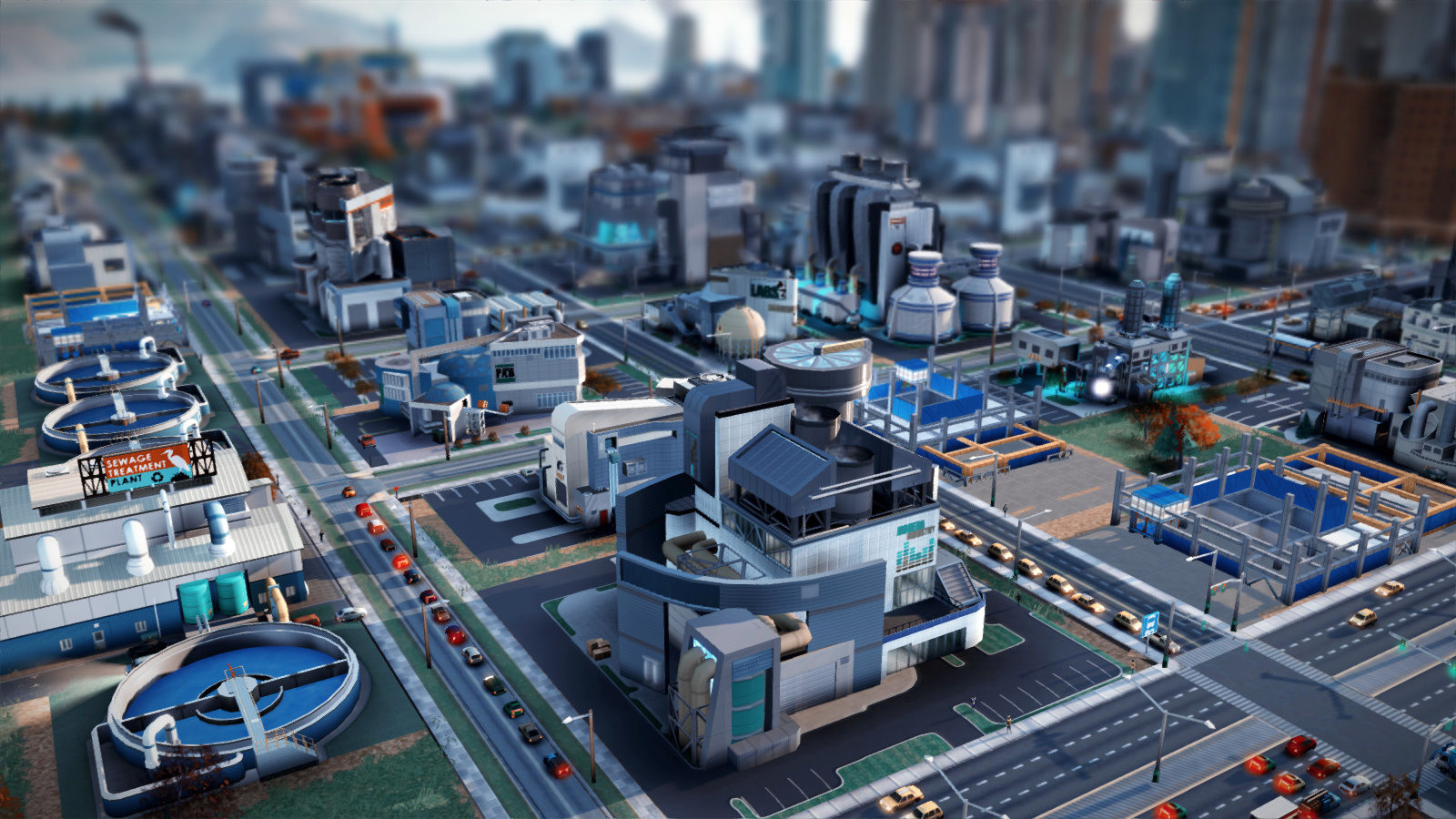 In- game screenshot of a low/ mid- density, high- wealth, industrial buildings