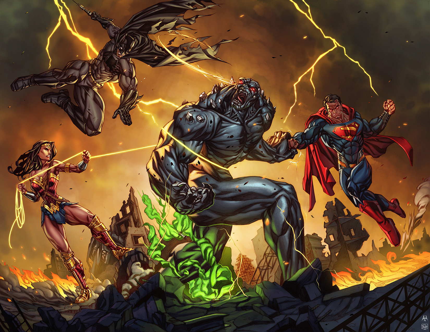 Fan Art The Trinity Taking On Doomsday By Alesky Aguilar Comicbooks