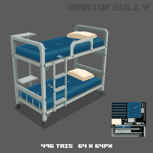 3D Pixel-Art Prison Bed (Commission)