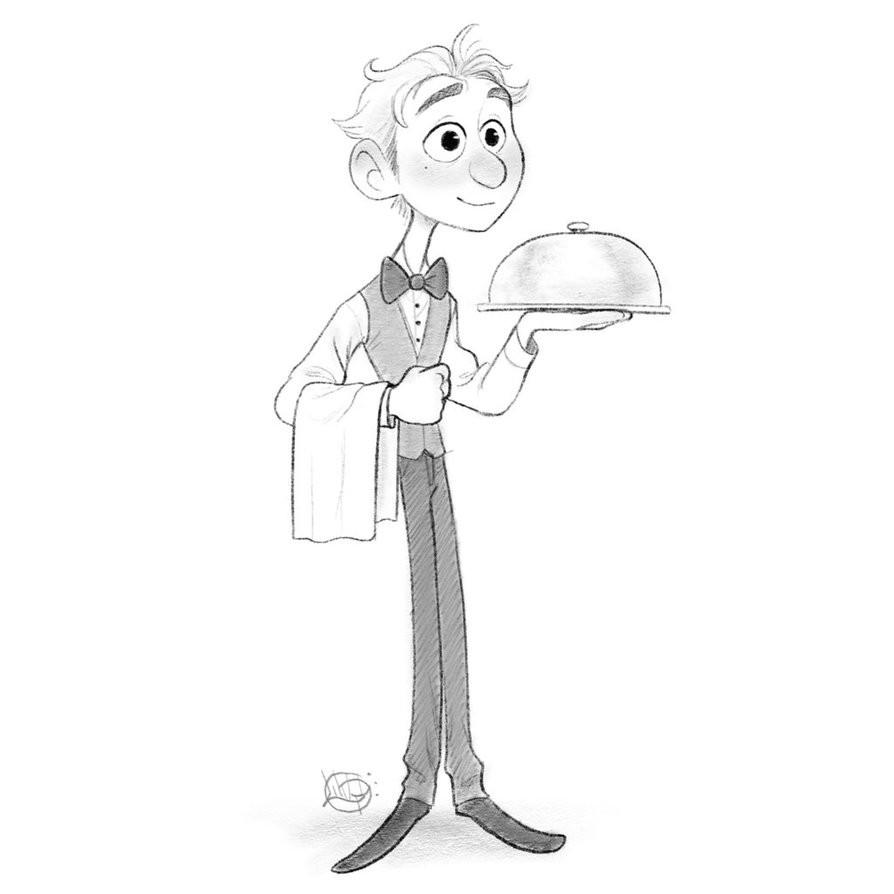 Luigi lucarelli waiter sketch by luigil dbvt5q9